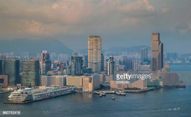 The landmarks in Tsim Sha Tsui including Harbour City and Ocean Terminal the Clock Tower and Hong Kong Cultural Centre are seen along the Victoria...