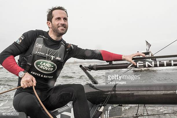The LandRover BAR British Americas Cup Team skipper Sir Ben Ainslie. Celebrating after winning during the Louis Vuitton Americas Cup World Series on...