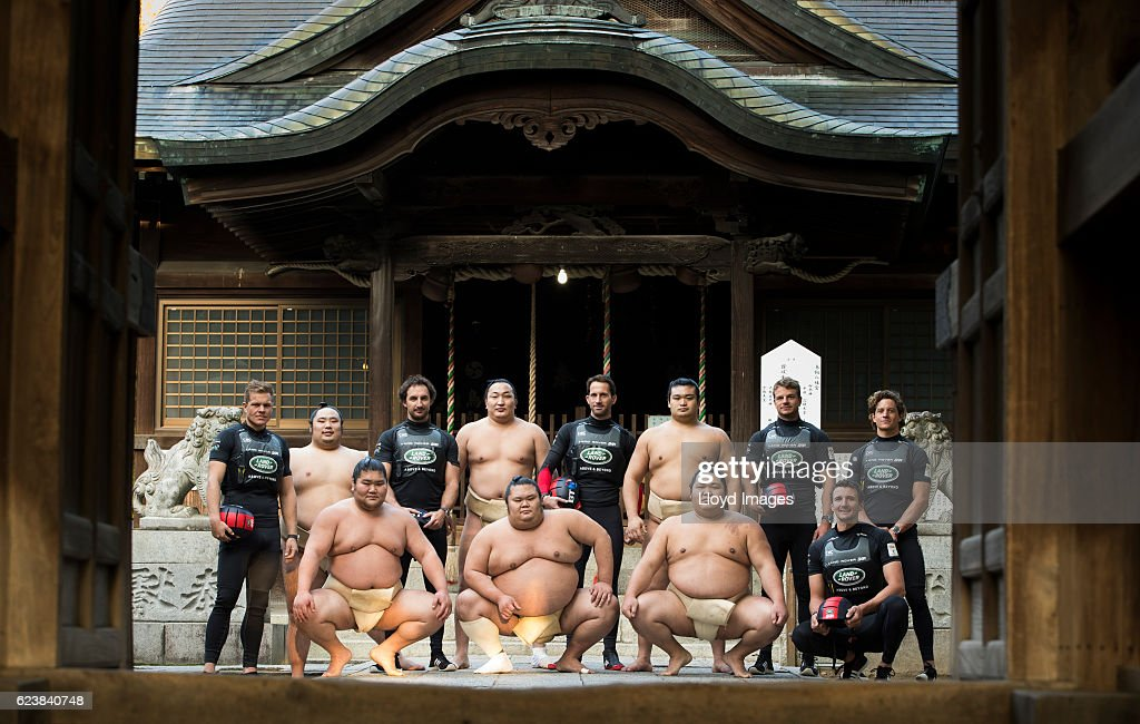 The LandRover BAR British Americas Cup Team skippered by Sir Ben Ainslie with team mates Paul campbell james, Nick Hutton, David Carr, Ed Powys and Giles Scott.visits the Kokonoe Beya Sumo Stable, prior to the start of racing during the Louis Vuitton Americas Cup World Series Japan on November 17, 2016 in Fukuoka, Japan.