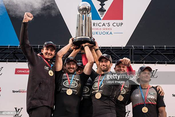 The LandRover BAR British Americas Cup Team skippered by Sir Ben Ainslie with team mates David Carr, Paul Campbell James, Nick Hutton, Ed Powys and...