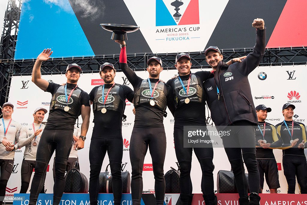 The LandRover BAR British Americas Cup Team skippered by Sir Ben Ainslie with team mates David Carr, Paul Campbell James, Nick Hutton, Ed Powys and Giles Scott. Shown celebrating winning during the Louis Vuitton Americas Cup World Series on November 20, 2016 in Fukuoka, Japan