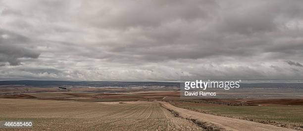 The landscape near the village of Tordesilos on February 26 2015 near Molina de Aragon Spain The process of deindustrialization and depopulation that...