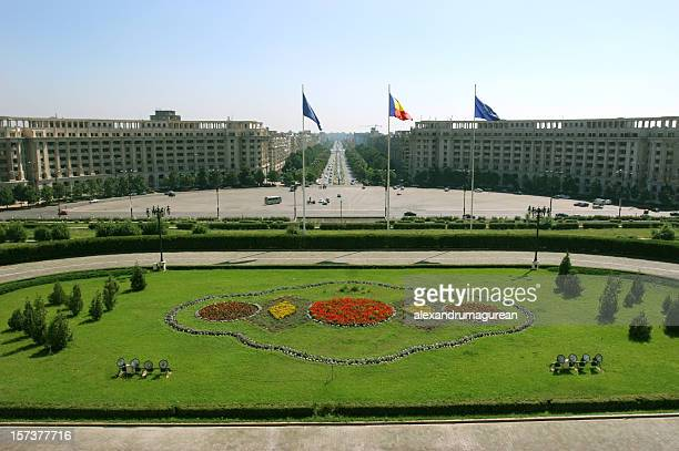 The landscape of Bucharest and its flags
