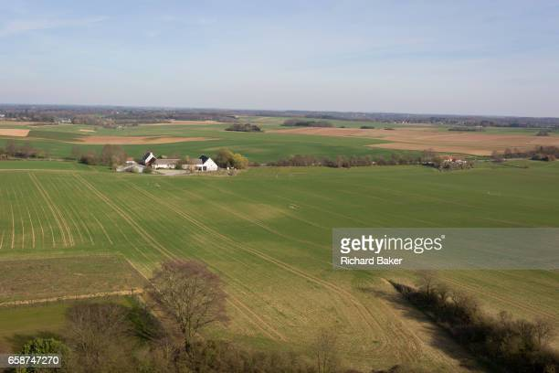 The landscape of fields and farming land including La Haye Sainte farm, the location of the Battle of Waterloo, on 25th March 2017, at Waterloo,...