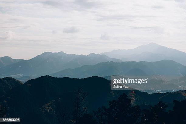 the landscape of mount takao - hachioji stock pictures, royalty-free photos & images