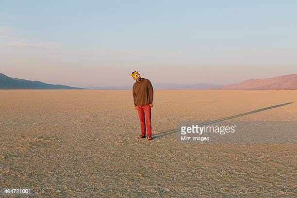 The landscape of the Black Rock Desert in Nevada. A man wearing an animal mask. Casting a long shadow on the ground.