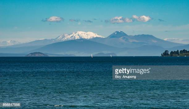 The landscape of Tongariro national park look through lake Taupo in North Island of New Zealand.