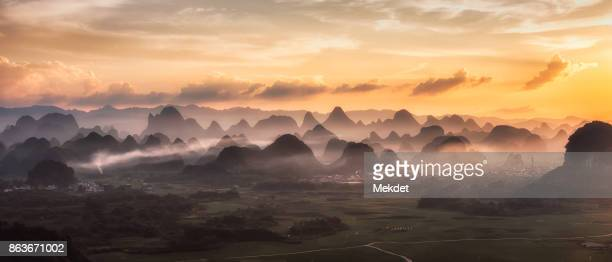 The landscape of Wulongquan village in Yangshuo, Guilin, China at Dusk