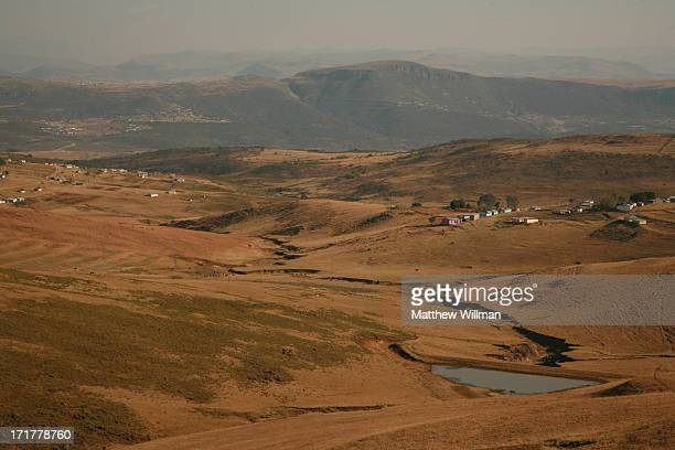 The landscape surrounding the village of Qunu South Africa 14th August 2008 Qunu is the childhood home of South African statesman Nelson Mandela who...