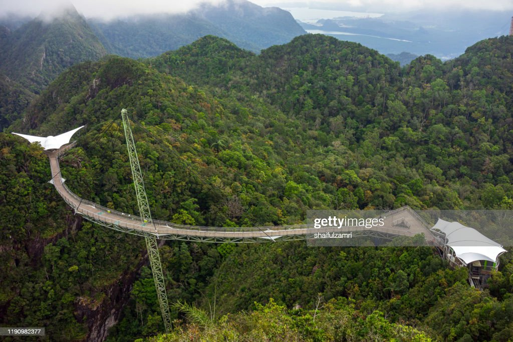 The Langkawi Sky Bridge is located at cable-car ride. : Stock Photo