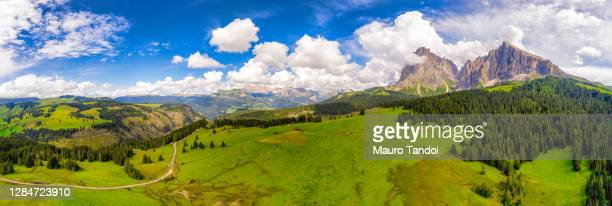 the langkofel group against the summer skies, alto adige, italy - mauro tandoi foto e immagini stock
