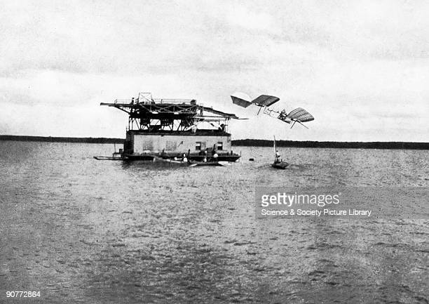 The Langley 'Aerodrome' ditching in the Potomac 8/12/1903. Samuel Pierpoint Langley, Secretary of the Smithsonian Institution, had conducted gliding...