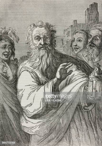 The lantern of Diogenes after a painting by Salvator Rosa illustration from Teatro universale Raccolta enciclopedica e scenografica No 377 September...