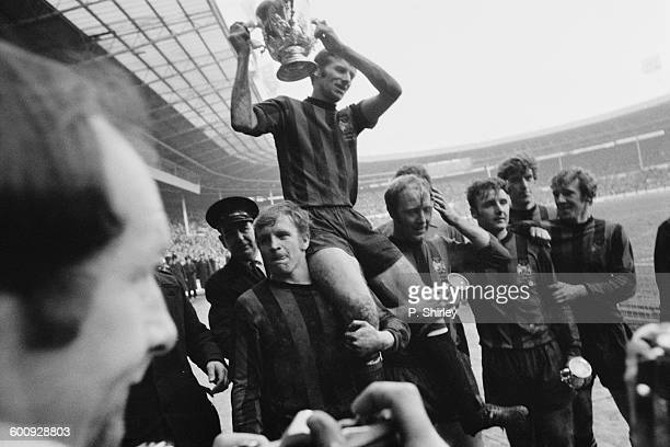 The lap of honour by Manchester City after they won the 1970 Football League Cup Final against West Bromwich Albion at Wembley Stadium in London 7th...