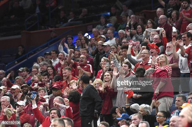 The large Arkansas crowd reacts as their team takes the lead during a Southeastern Conference Basketball Tournament game between Florida and Arkansas...