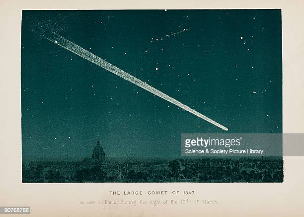 The Large Comet of 1843 seen in the night sky above Paris The Great March Comet also known as C/1843 D1 reputedly had a tail of of 330 million km...