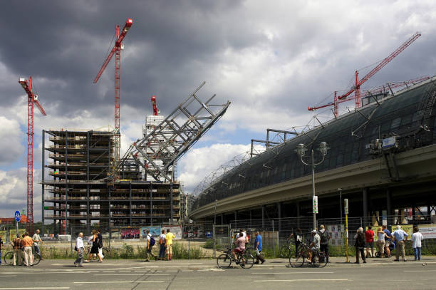 The large construction site of the new Berlin main train Station near Spree river (Berlin, Germany)