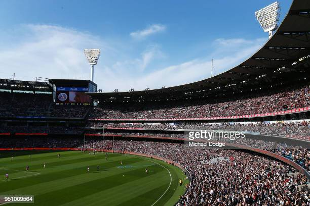 The large crowd is seen during the round five AFL match between the Collingwood Magpies and the Essendon Bombvers at Melbourne Cricket Ground on...