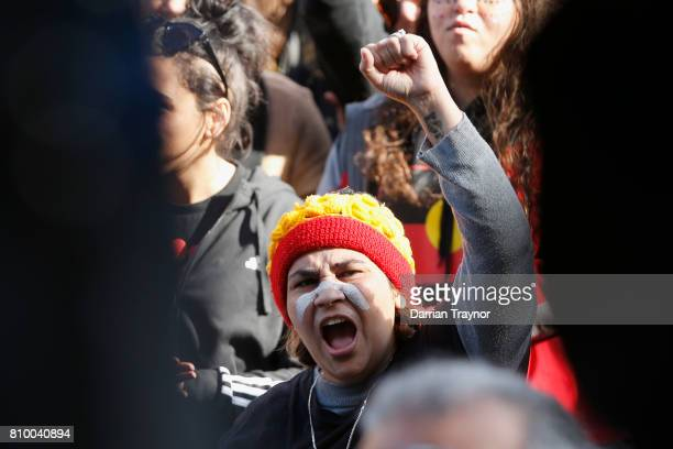 The large crowd listens to speakers on the steps of Parliament House during the 2017 NAIDOC March on July 7 2017 in Melbourne Australia The march was...