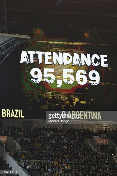 The large crowd total is seen during the Brasil Global Tour match between Brazil and Argentina at Melbourne Cricket Ground on June 9 2017 in...