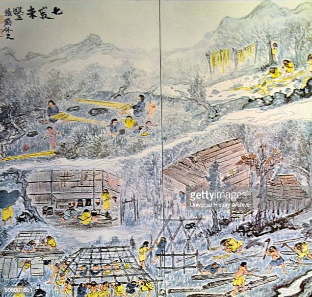 The large painting depicts different scenes of everyday life within an Ainu Village By Tomioka Tessai Japanese painter and Calligrapher in imperial...