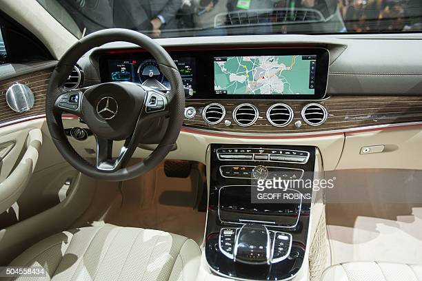 The large screens are a prominent feature in the new MercedesBenz EClass sedan which the company unveiled at the 2016 North American International...