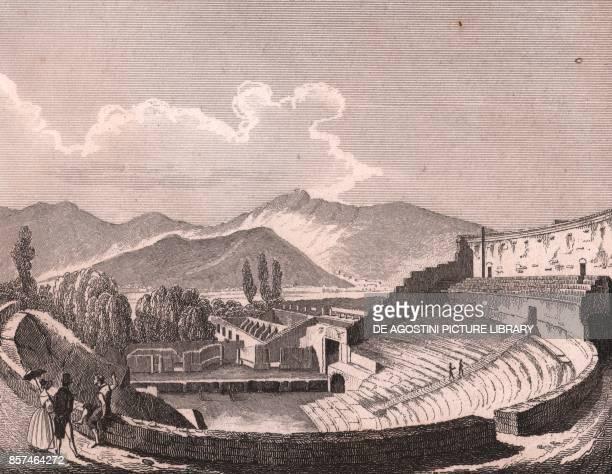 The Large Theatre in Pompeii steel engraving from L'Italia la Sicilia le isole Eolie l'isola d'Elba la Sardegna Malta l'isola di Calipso ecc by...