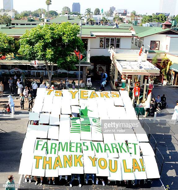 The largest birthday card ever was delivered at the 75th Anniversary Birthday Party for the original Farmers Market on July 16 2009 in Los Angeles...