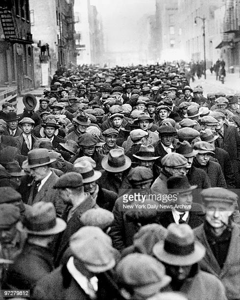 The largest crowd ever assembled at the Municipal Lodging House at 25th Street and First Avenue They lined the streets for a free meal during the...