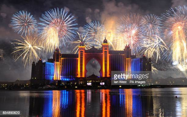The largest display of fireworks in the world are seen at the The Atlantis Hotel during it's launch party at Palm Jumeirah in Dubai