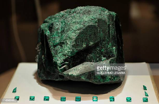 The largest emerald in the world called 'Fura' of 11000karat raw and 227 kilos is on display during the 'Minergemas 2011' exhibition of mining...