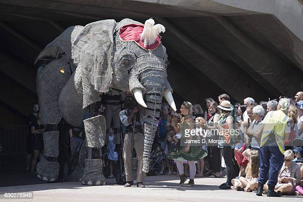 The largest ever performing African elephant Queenie from the show Circus 1903 appears at the Sydney Opera House on December 20 2016 in Sydney...