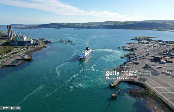 The Larne to Cairnryan ferry between Northern Ireland and Scotland departs from the port of Larne on October 4, 2020 in Larne, Northern Ireland. Last...