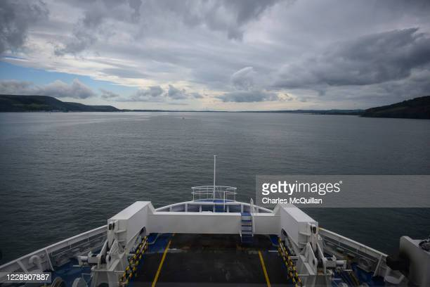 The Larne to Cairnryan ferry between Northern Ireland and Scotland makes its way towards the port of Larne on October 4, 2020 in Larne, Northern...