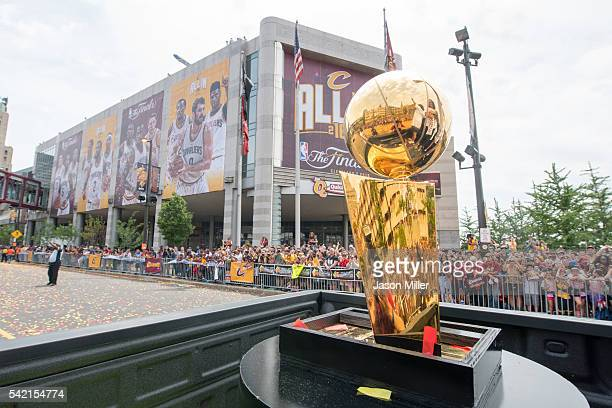The Larry O'Brien Championship Trophy is driven through downtown Cleveland during the Cleveland Cavaliers 2016 championship victory parade and rally...