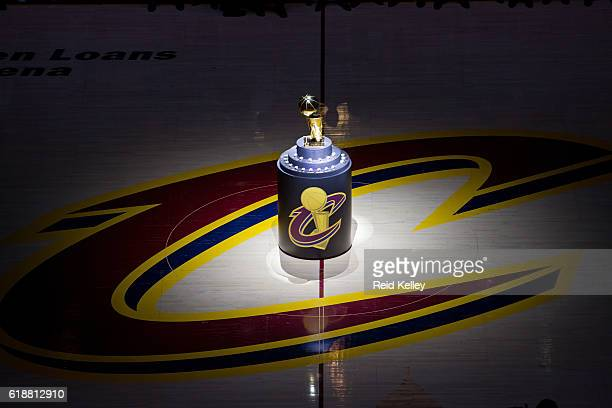 The Larry O'Brien Championship Trophy is presented at center court before the Cleveland Cavaliers game against the New York Knicks on October 25 2016...