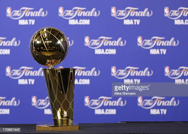 The Larry O'Brien Championship Trophy is seen before Game Seven of the 2013 NBA Finals between the Miami Heat and the San Antonio Spurs at...
