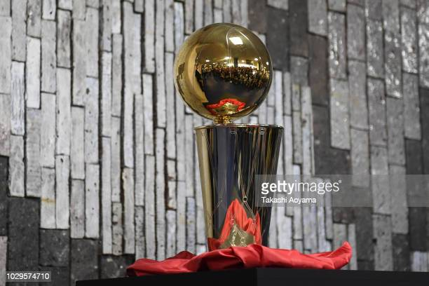The Larry O'Brien Championship Trophy is seen during a fan Meeting event ahead of the B.League Early Cup Kanto 3rd Place Game between Chiba Jets and...
