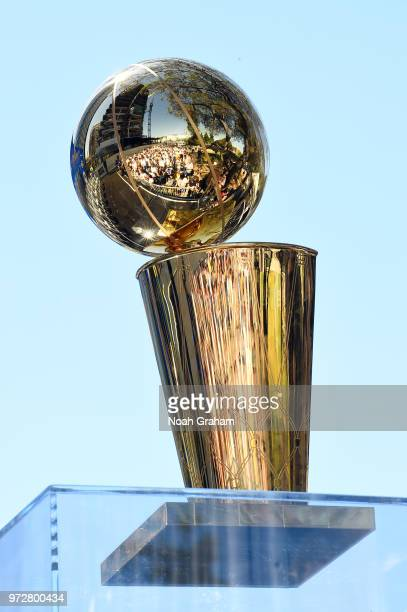 the Larry O'Brien Championship trophy is seen during the Golden State Warriors Victory Parade on June 12 2018 in Oakland California The Golden State...