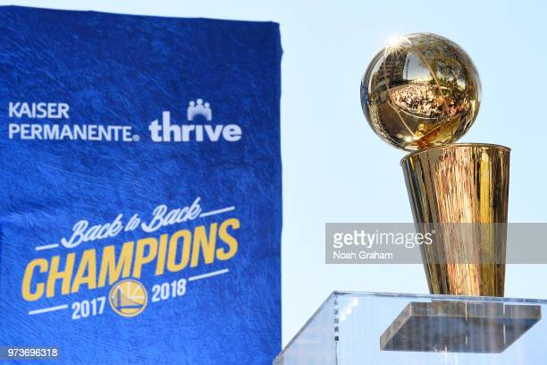 The Larry O'Brien Championship Trophy seen during the Golden State Warriors Victory Parade on June 12 2018 in Oakland California NOTE TO USER User...