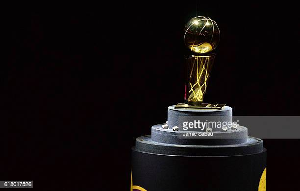 The Larry O'Brien championship trophy sits on display before the game between the Cleveland Cavaliers and the New York Knicks at Quicken Loans Arena...
