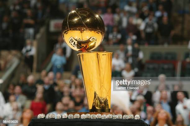 The Larry O'Brien NBA Championship Trophy is presented to the San Antonio Spurs before their game against the Denver Nuggets on November 1 2005 at...