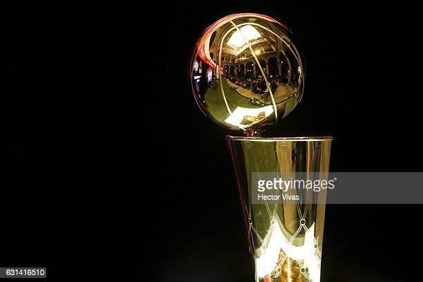 The Larry O'Brien NBA Championship Trophy is seen during the NBA Global Games press conference at National Palace on January 10 2017 in Mexico City...