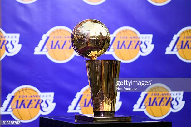The Larry O'Brien trophy is displayed at the Lakers Fan Fest prior to the Memphis Grizzlies and the Los Angeles Lakers game at Microsoft Square on...