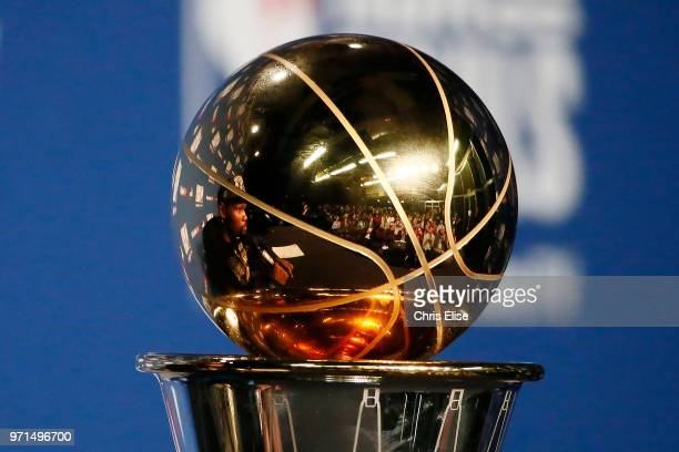 the Larry O'Brien trophy is seen at the post game media session after the Golden State Warriors defeating the Cleveland Cavaliers for the NBA...