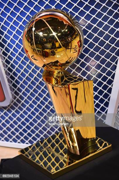 The Larry O'Brien trophy is seen before the game between the Cleveland Cavaliers and Cleveland Cavaliers and the in Game Two of the 2017 NBA Finals...