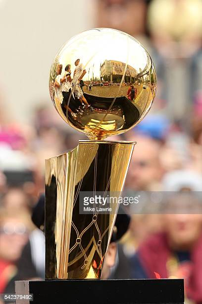 The Larry O'Brien trophy sits on a float during the Cleveland Cavaliers 2016 NBA Championship victory parade and rally on June 22 2016 in Cleveland...
