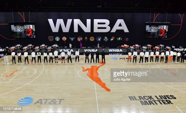 The Las Vegas Aces and the Connecticut Sun take a moment of silence in memory of Ruth Bader Ginsburg before Game One of their Third Round playoff at...
