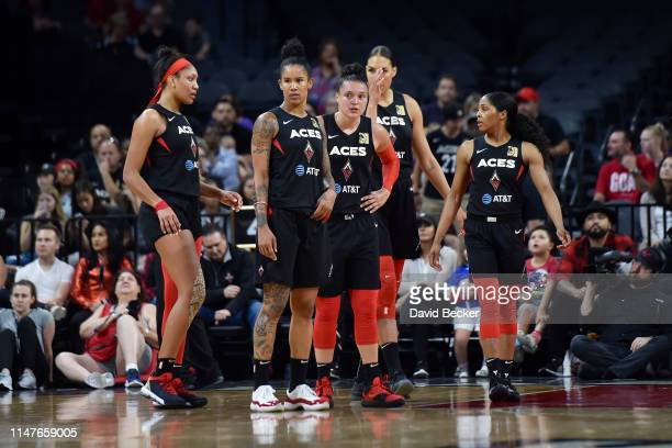 The Las Vegas Aces are seen during the game against Connecticut Sun on June 2 2019 at the Mandalay Bay Events Center in Las Vegas Nevada NOTE TO USER...