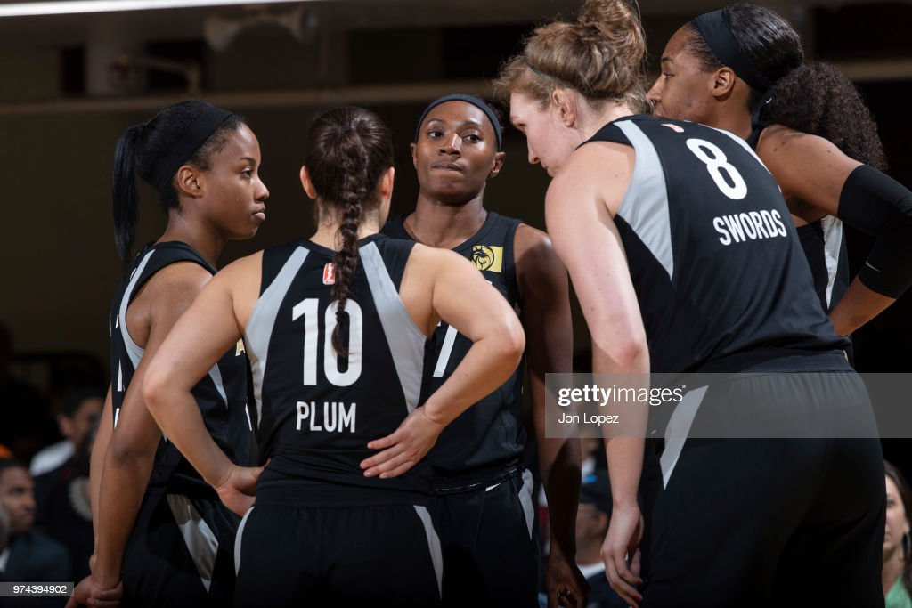 the Las Vegas Aces huddle during the game against the New York Liberty on June 13, 2018 at Westchester County Center in White Plains, New York.